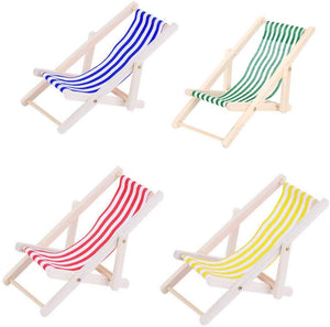 4x Mini wooden dolls house furniture accessories deck chair dolls beach chair for indoor outdoor