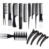 10x Professional Salon Comb Set Anti-static Hair Styling Hairdressing Combs+4x Hair Clips Salon