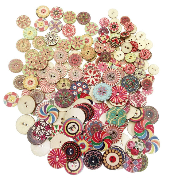 300 x Vintage Multicolour Wooden Buttons 2 Holes Round Buttons DIY Sewing Craft Knitting Decoration