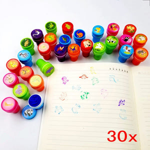 Farm animal + dinosaur + wild animal, 30 ink stamps for kids self inking stamper party filler