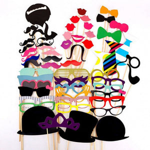 58 pieces Paper Photo Booth Props Moustache Mask Bow Lips Hat On Stick Party Birthday Wedding