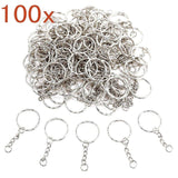 100 x Split Metal Key Rings 25mm with Link Chain + Mini Open Jump Rings for car House Work