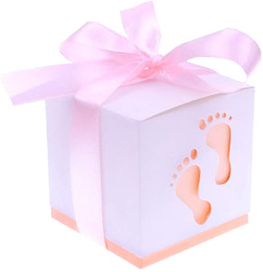 50 x Pink footprint paper baby shower favour boxes girl baby shower birthday party christening party