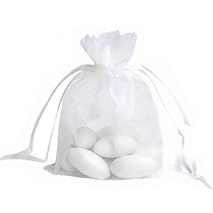50x White organza bags party bags confetti bags small gift bags 12x9 cm