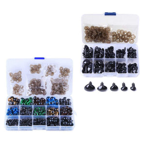 264 Safety Eyes + 100 Safety noses w/ Box for Toy Making Assorted Sizes for Soft Teddy Bear Doll