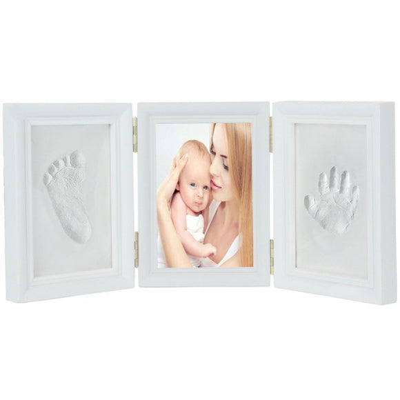 JZK White Clay Handprint Footprint Picture Frame kit Clay photo Frames Girls Boys Baby Shower Gift