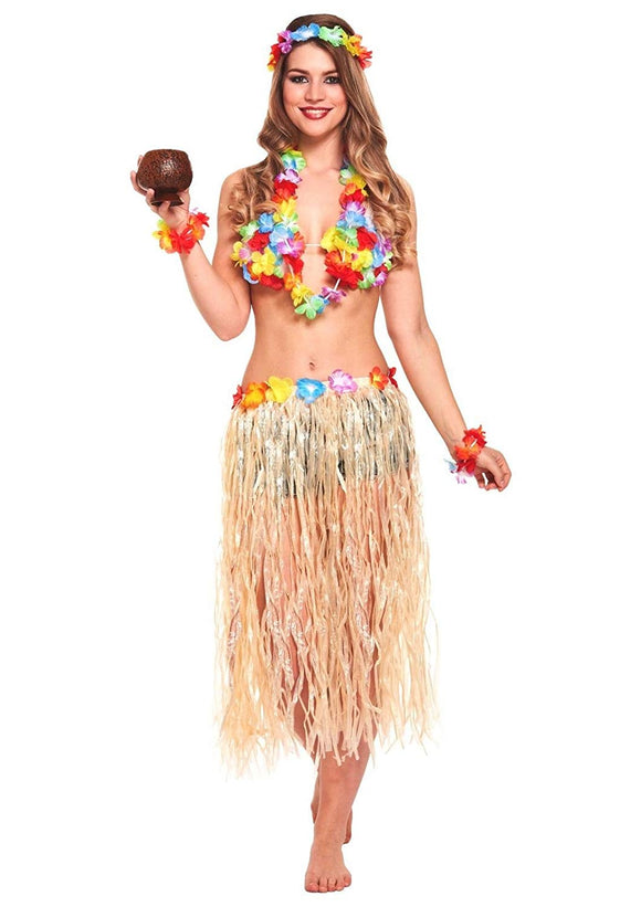 5 in 1 Hawaiian party fancy dress costume set hula skirt flower headband bracelet garland necklace