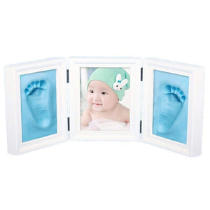 JZK Blue Clay Handprint Footprint Picture Frame kit Clay photo Frames Girls Boys Baby Shower Gift