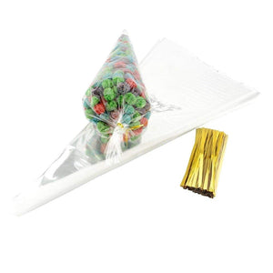 100 Clear cone sweet bags with ties cellophane party treat bags for sweets snacks wedding birthday