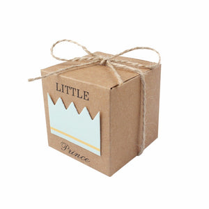 50 x Little Prince kraft paper baby shower favour boxes for boy birthday party christening baptism