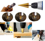 3 X Titanium Coated Stepped Drill Bit, 4-12mm, 4-20mm, 3-12 mm HSS Step Cone Drill Bit