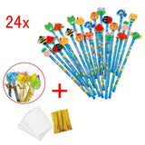 24 x Blue wooden graphite pencils set with cartoon rubber erasers kids children party favours give