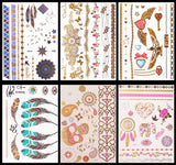 10 Sheets Assorted Metallic Flash Temporary Jewellery Tattoos, Waterproof (A)