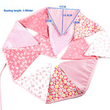 3.5m 12 ft Pink party bunting triangle flag cloth banner