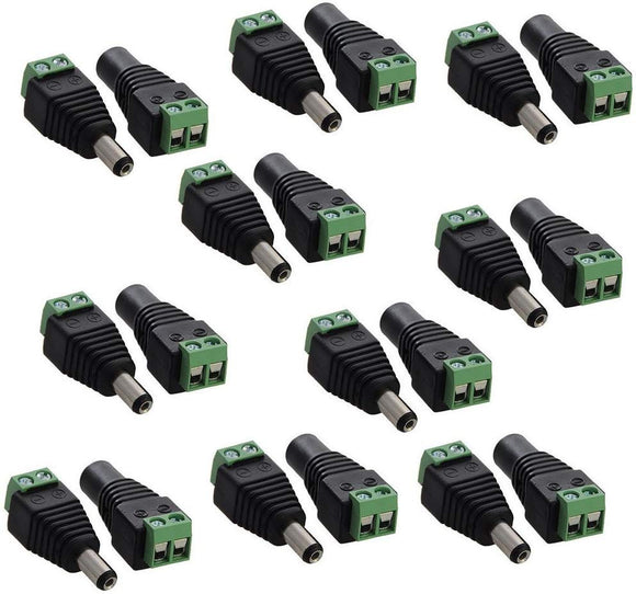 10 pairs 5.5mm x 2.1mm 12V DC Power Male & Female Jack Connector Plug Adapter