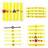 28 Emoji slap bracelet rubber emoticon band silicone wristband for kids children birthday gift party