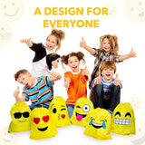 12pcs Lovely emoji cartoon drawstring backpack PE bags for kids & adult birthday party bag fillers