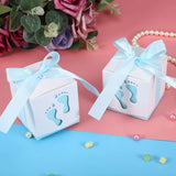 50 x Blue footprint paper baby shower favour boxes for baby shower boy birthday party christening