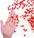 200 x Red Heart Bamboo Wooden Cocktail Stick 12cm Long Toothpick for Party Nibbles Tapas Sandwich