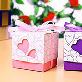 50 Pink Heart Wedding Favour Box Sweet Box Gift Box for Wedding Birthday Baby Graduation Party
