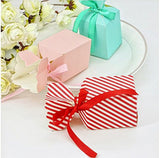 50 x White red stripes wedding paper box baby shower christening party sweets