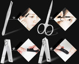 12 x Stainless steel nail clippers manicure pedicure set with portable travel case