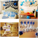 Sliver letters Happy Birthday foil balloons banner bunting for children adult party decoration