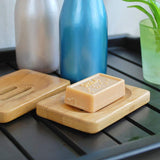 3x Natural bamboo soap dish soap box soap dish storage holder for kitchen home shower bathroom tub