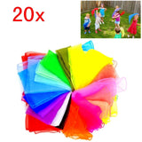 20 Multi colour soft organza silk square dance juggling scarves for kids girls party activities