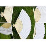 20 x White folding paper fan/fans handheld paper for party wedding communion travelling decoration