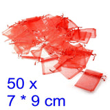50x Red organza bags party favour confetti small gift 7x9 cm, for candy, jewelry, beads, dry flower