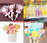 200 Clear rectangle sweet bags with ties cellophane party treat bags for sweets snacks confetti