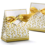 50 Gold wedding favour box paper small sweets for birthday baby shower Christmas graduation party