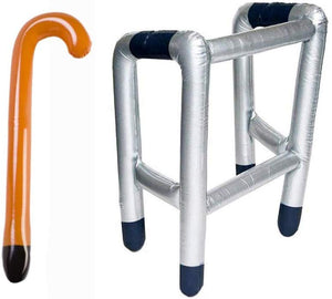 JZK Inflatable Zimmer frame walking stick toy, joke present for 50th 60th 70th 80th 90th birthday party fun gift retirement party decorations accessory