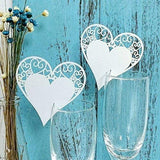 50 x Pearly white heart on wineglass shimmer laser cut name card place card table number decoration