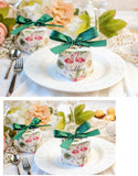"50 Diamond shape flamingo ""wedding"" white favour boxes with green ribbons paper sweets box"