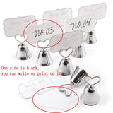 20 Silver bell wedding kissing card photo memo place holder birthday baby shower Christmas party