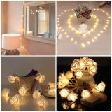 2m 6.6ft 20 LED Rose Flower String Light Battery Operated Fairy Light Wedding Party Valentine's Day