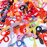 100x Colorful Rabbit Ear Hair Bands Cute Elastic Ponytail Holder Pigtails or Braids Hair Accessories