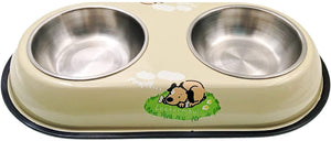 JZK Stainless steel small dog bowls set with metal holder stand, removable double bowls for small dog puppy and cat