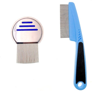 JZK 2 x Metal flea comb grooming comb for short hair dogs cats and long haired cats dogs