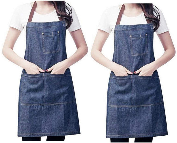 JZK 2 x Denim Jean Adjustable Kitchen Apron with Big Pockets for Women Men for Cooking BBQ Grill Cafe Waiter Bartender Chef Apron