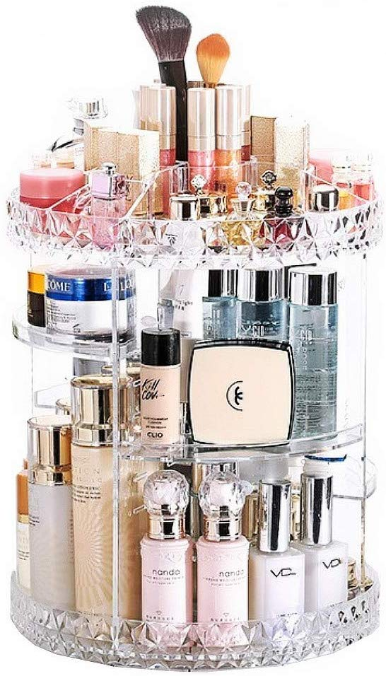 JZK Clear acrylic rotating makeup organiser shelves adjustable cosmetics organiser tray, make up organizer storage box, nail polishes stand holder display