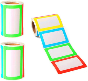 JZK 2 x Rolls Coloured Borders Large Name tag Stickers Labels, 89mm x 57mm self Adhesive Rectangle Labels for Jars Bottles Folder, 400 pcs Colourful Labels