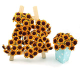 100x Yellow Little Paper Artificial Sunflowers with Iron stem DIY Project Wedding Favour Decoration