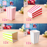 48 Stripe multicolore small paper popcorn treat boxes cups buckets kids birthday party favours box