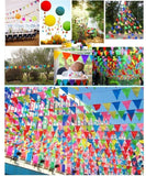 80 meters colourful party bunting triangle flag banner hanging decoration for wedding ornaments