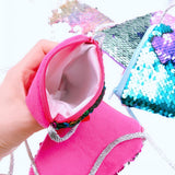 6 x Mermaid Tail Sequins Coin Purse with Strap for Young Girls Birthday Party Favours Thank You Gift