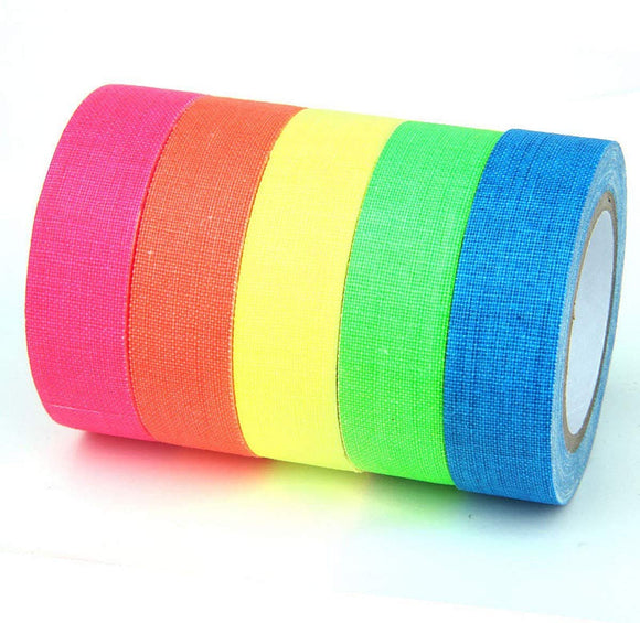 JZK 6 Rolls Fluorescent neon Gaffer Tape Glow Under Blacklight or UV Light, matt Cloth Adhesive Colour Code Tape, Decorations for Glow Party Halloween
