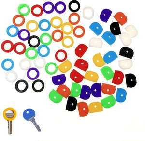JZK Set 64 x Colourful Flexible Rubber Key Cap Covers Key identifier Coding Rings to Colour Code Keys